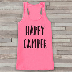 Happy Camper - Pink Camping Top - Adventure Tank Top - Campfire Tank Top - Womens Shirt - Outdoors Outfit - Hiking Shirt - 7 ate 9 Apparel