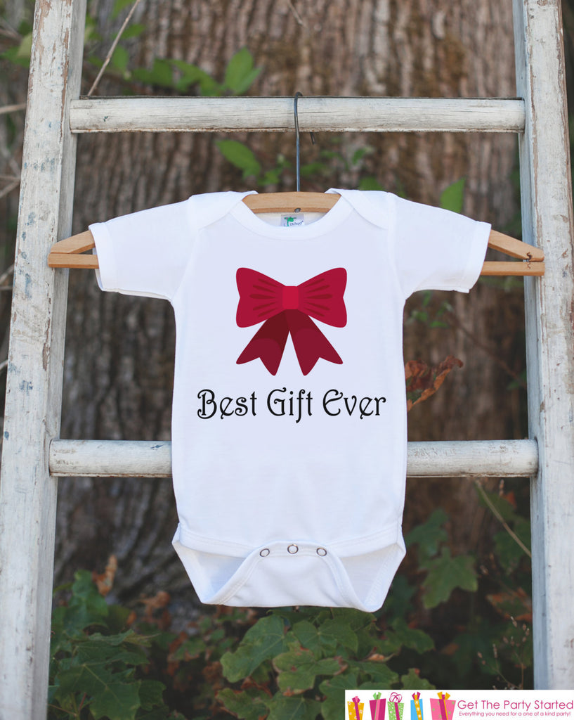 Infant Christmas Outfit - Best Gift Ever Christmas Onepiece - Pregnancy Announcement - Baby Holiday Shirt - Infant Newborn Christmas Red Bow