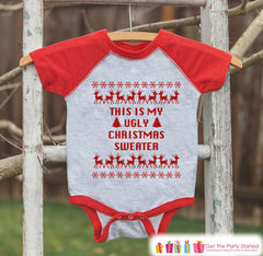 Kids Ugly Christmas Sweater Outfit - This Is My Ugly Christmas Sweater - Funny Kids Christmas Shirt or Onepiece - Boy or Girl Holiday Party