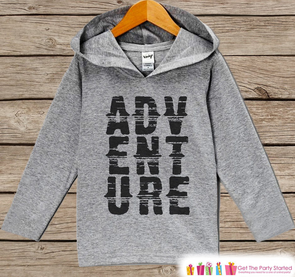 Kids Hoodie - Outdoor Adventure Top - Hiking, Nature, Outdoor Aventure, Camping Shirt - Children's Pullover - Grey Toddler, Infant Hoodie - 7 ate 9 Apparel