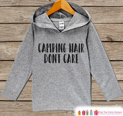 Kids Hoodie - Camping Hair Don't Care - Hiking, Nature, Outdoor Aventure, Camping Shirt - Children's Pullover - Grey Toddler, Infant Hoodie - 7 ate 9 Apparel