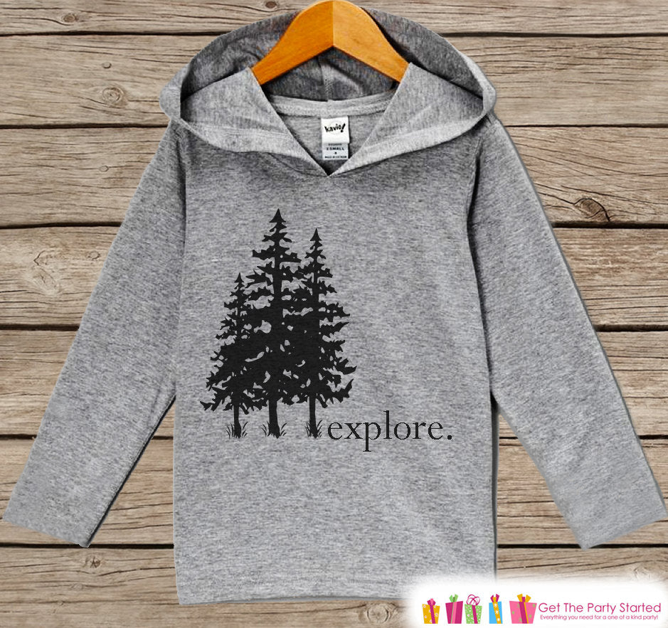 Kids Hoodie - Explore Trees Outdoors - Hiking, Nature, Outdoor Aventure, Camping Shirt - Children's Pullover - Grey Toddler, Infant Hoodie