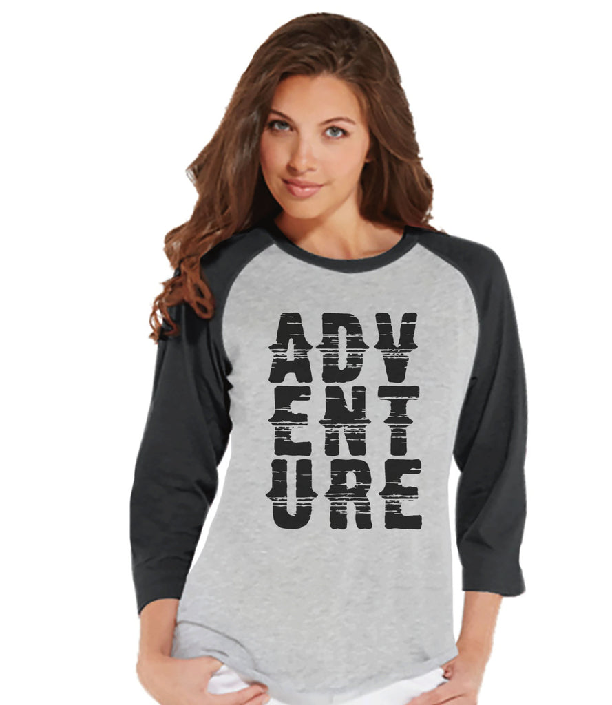 Camping Shirt - Women's Adventure Shirt - Grey Raglan T-shirt - Camping, Hiking, Outdoors, Mountain, Nature Shirt - Adult Baseball Tee