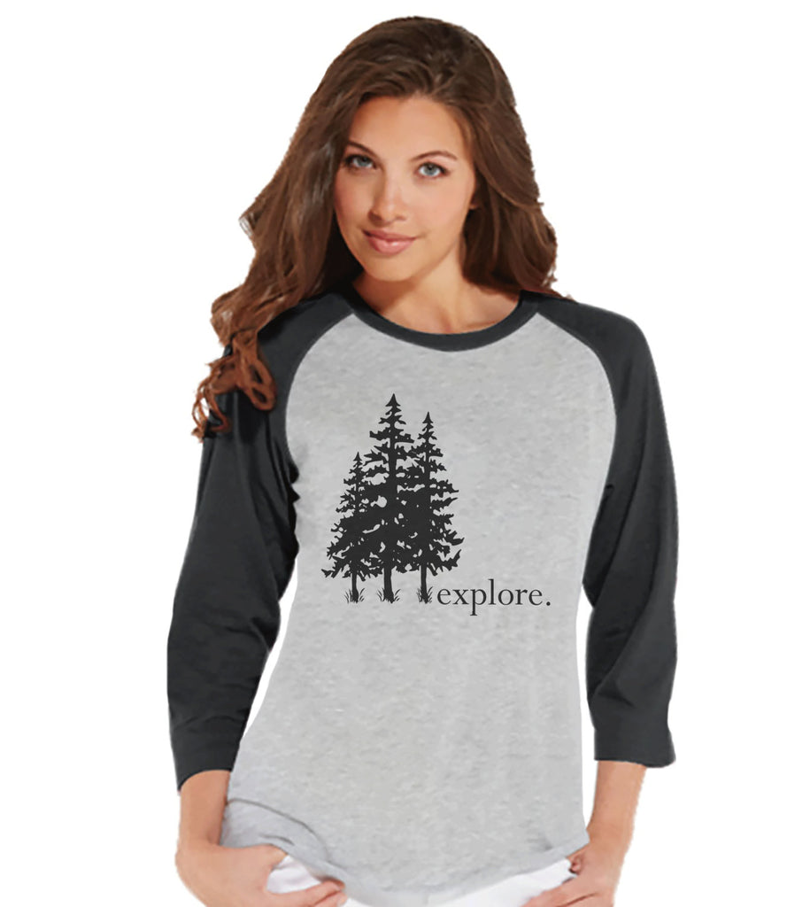 Camping Shirt - Explore the Outdoors Shirt - Womens Grey Raglan Top - Camping, Hiking, Outdoors, Mountain, Nature Shirt - Adult Baseball Tee