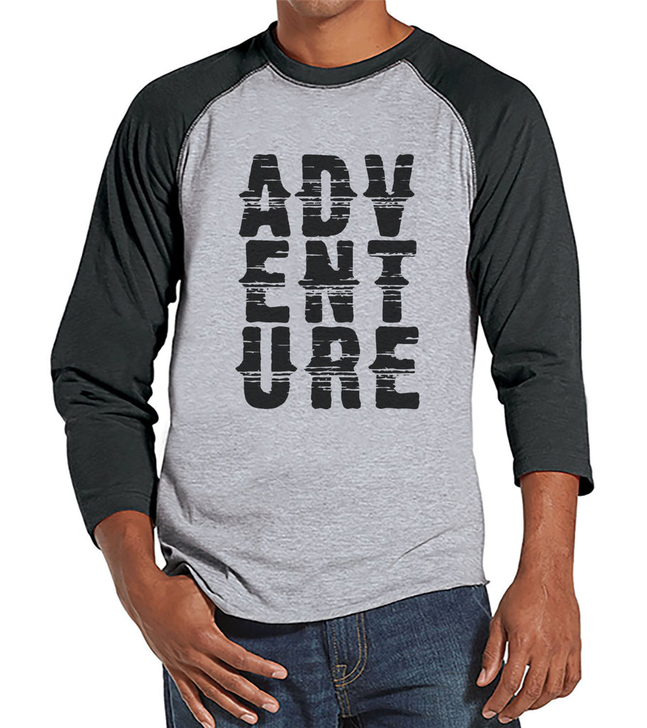 Mens Camping Shirt - Adventure Shirt - Grey Raglan T-shirt - Camping, Hiking, Outdoors, Mountain, Nature Shirt - Baseball Tee, Gift for Him