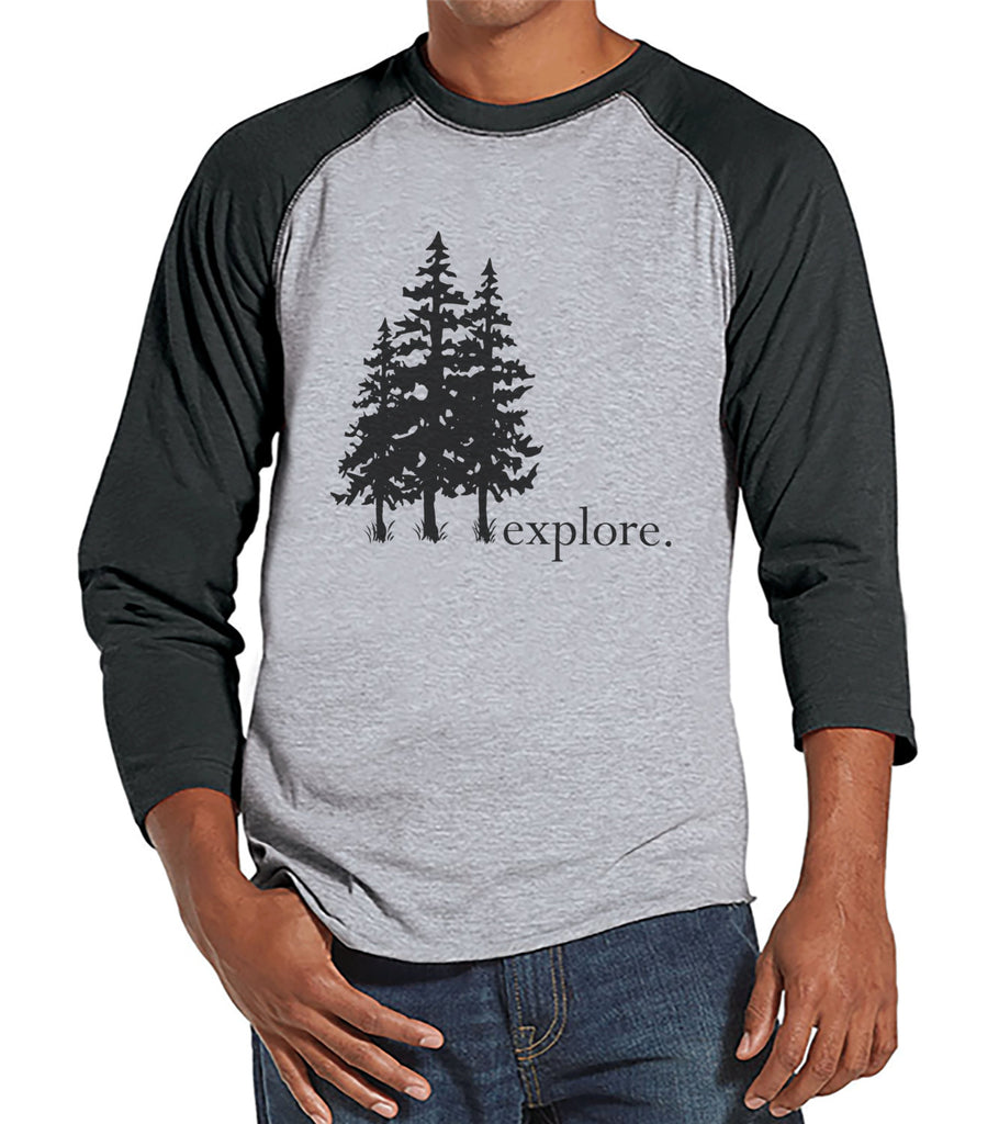 Mens Hiking Shirt - Explore Shirt - Men's Grey Raglan T-shirt - Camping, Hiking, Outdoors, Mountain, Nature Shirt - Gift for Him