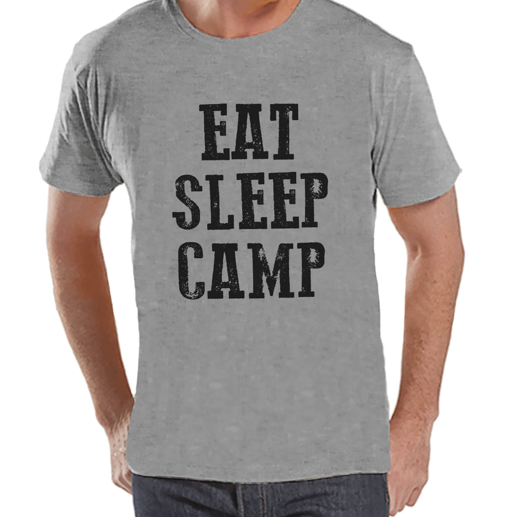 Camping Shirt - Eat Sleep Camp Shirt - Mens Grey T-shirt - Men's Camping, Hiking, Outdoors, Mountain, Nature Tee - Funny Humorous T-shirt