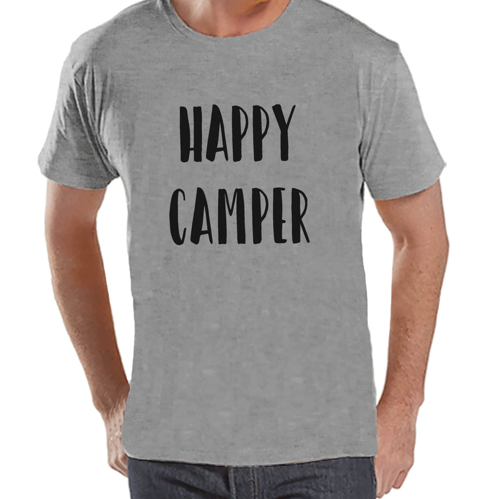 Men's Camping Shirt - Happy Camper Shirt - Mens Grey T-shirt - Camping, Hiking, Outdoors, Mountain, Nature Tee - Funny Humorous T-shirt - 7 ate 9 Apparel