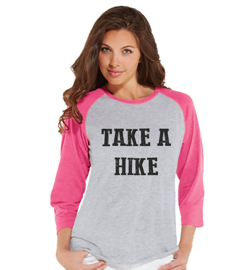 Funny Hiking Shirt - Take A Hike T-shirt - Funny Womens Shirts - Women's Pink Raglan - Hiking, Camping, Outdoors, Mountain, Nature Shirt - 7 ate 9 Apparel