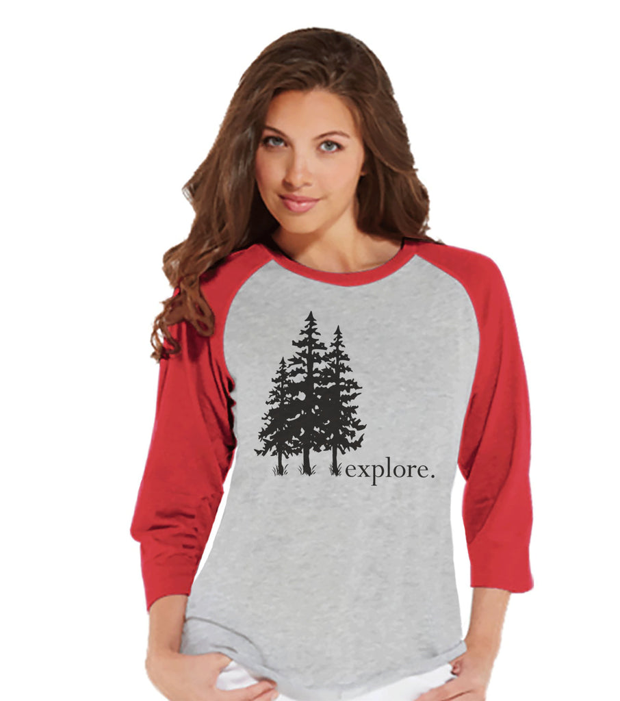Hiking Tshirt - Explore Shirt - Funny Women's Shirts Gifts - Ladies Red Raglan T-shirt - Hiking, Outdoors, Mountain, Nature Shirt