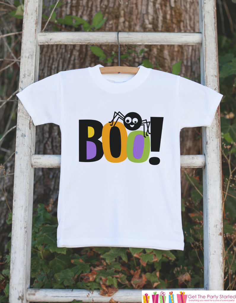 Halloween Shirt - Boo! Kids Halloween Costume - Kids Halloween Spider Onepiece or T-shirt - Boy or Girl Halloween Outfit - Novelty Clothing