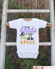 Girls Halloween Outfit - I Have Daddy Under My Spell - Funny Witch Tshirt or Onepiece - Baby Girl Halloween Outfit - Baby Halloween Costume - 7 ate 9 Apparel