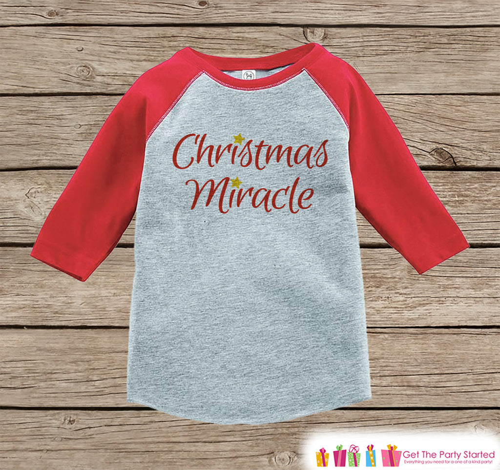 Kids Christmas Outfit - Christmas Miracle Shirt or Onepiece - Kids Holiday Outfit - Boy Girl - Kids, Baby, Toddler, Youth - 7 ate 9 Apparel