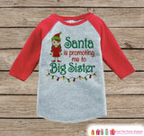 Big Sister Christmas Outfit - Pregnancy Announcement Onepiece or Shirt - Holiday Elf Shirt for Girls - Big Sister Little Sister Outfits