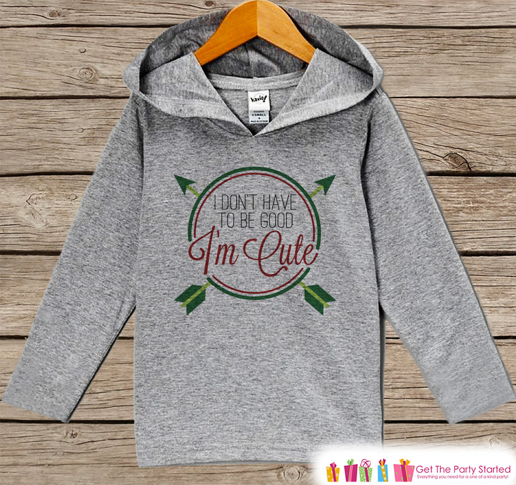 I'm Cute - Funny Kids Christmas Outfit - Grey Christmas Sweater - Kids Hoodie Pullover - Holiday Shirt for Baby, Toddler, Youth