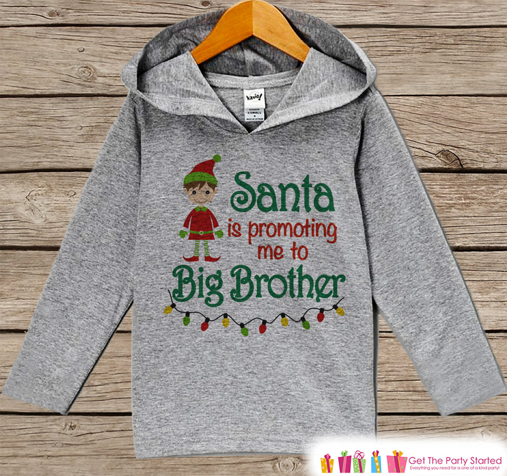 Big Brother Christmas Hoodie - Kids Hoodie Pullover - Christmas Pregnancy Announcement - Pregnancy Reveal - Santa Pictures - Sibling Shirts