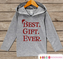 Best Gift Ever - Kids Hoodie Pullover - Grey Christmas Sweater - Christmas Pregnancy Announcement - Santa Hat Holiday Outfit for Baby, Toddler, Youth - 7 ate 9 Apparel