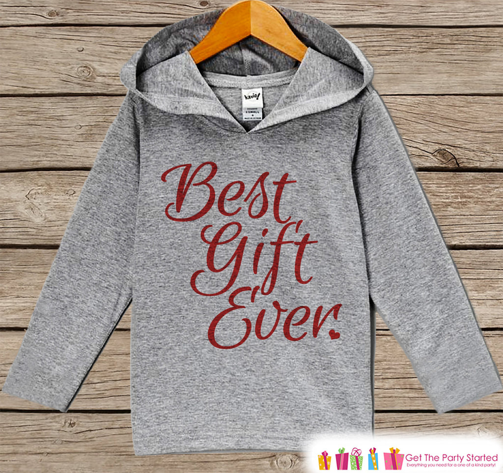 Best Gift Ever - Kids Hoodie Pullover - Grey Christmas Sweater - Christmas Pregnancy Announcement - Script Holiday Outfit for Baby, Toddler, Youth - 7 ate 9 Apparel