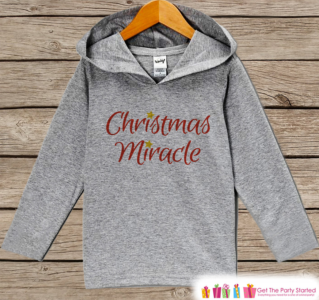Christmas Miracle - Kids Hoodie Pullover - Christmas Pregnancy Announcement, Reveal - Baby's First Christmas - Custom Outfit Baby, Toddler - 7 ate 9 Apparel