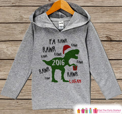 Dinosaur Christmas Sweater - Funny Kids Holiday Outfit - Grey Kids Hoodie Pullover - Christmas T Rex Shirt - Baby, Toddler, Youth -