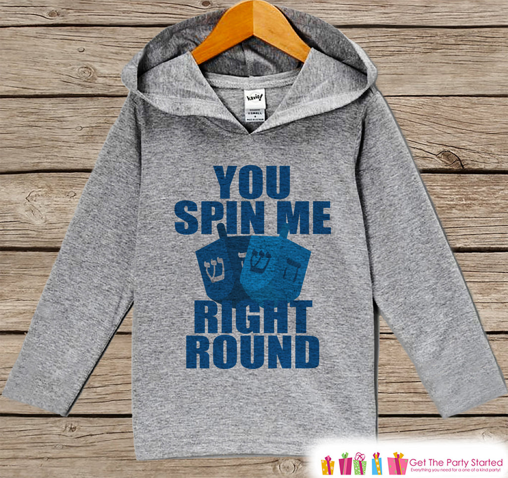 You Spin Me Right Round Sweater - Funny Hanukkah Shirt - Funny Kids Holiday Outfit - Grey Kids Hoodie Pullover - Baby, Toddler, Youth
