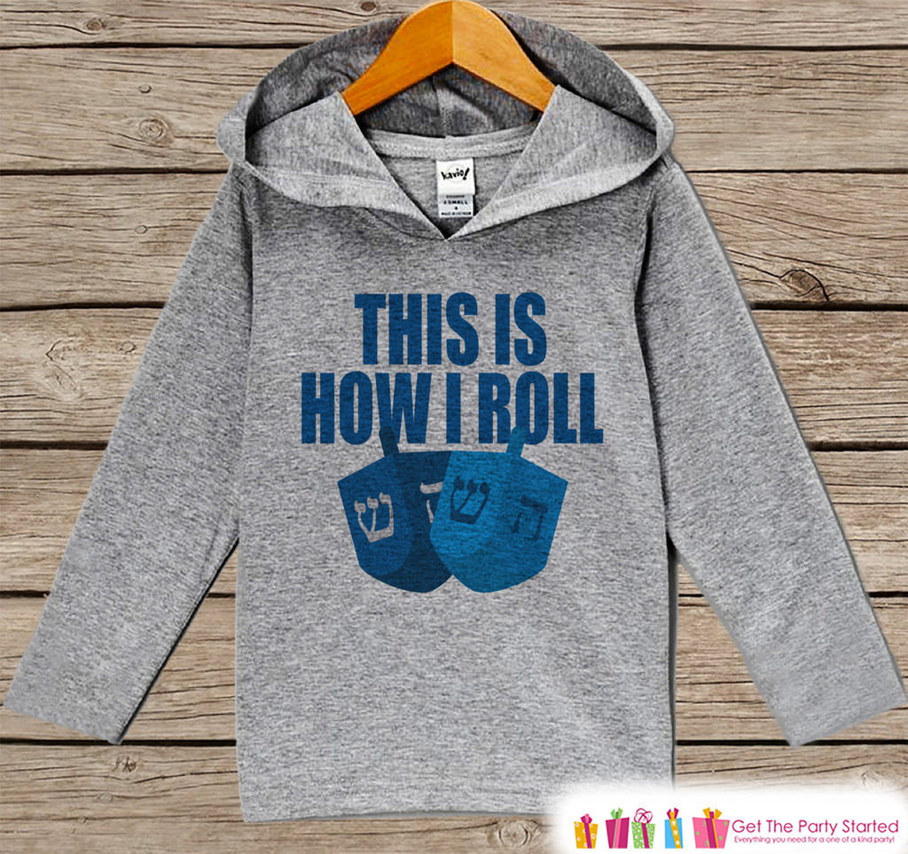 This Is How I Roll Sweater - Funny Hanukkah Shirt - Funny Kids Holiday Outfit - Grey Kids Hoodie Pullover - Baby, Toddler, Youth