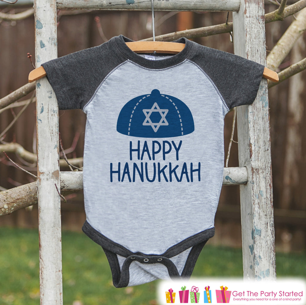 Happy Hanukkah Outfit - Kids Hanukkah Shirt or Onepiece - Happy Hanukkah Outfit for Kids - Yamaka - Holiday Outfit for Baby, Toddler, Youth
