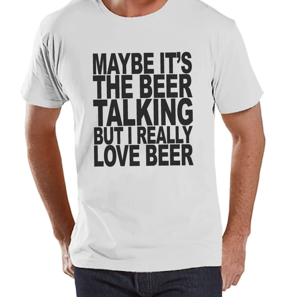 Men's Funny Tshirt - Drinking Shirts - I Love Beer - Mens Drinking Gifts - Funny Gift For Him - White Tshirt - St Patricks Day Shirt - 7 ate 9 Apparel