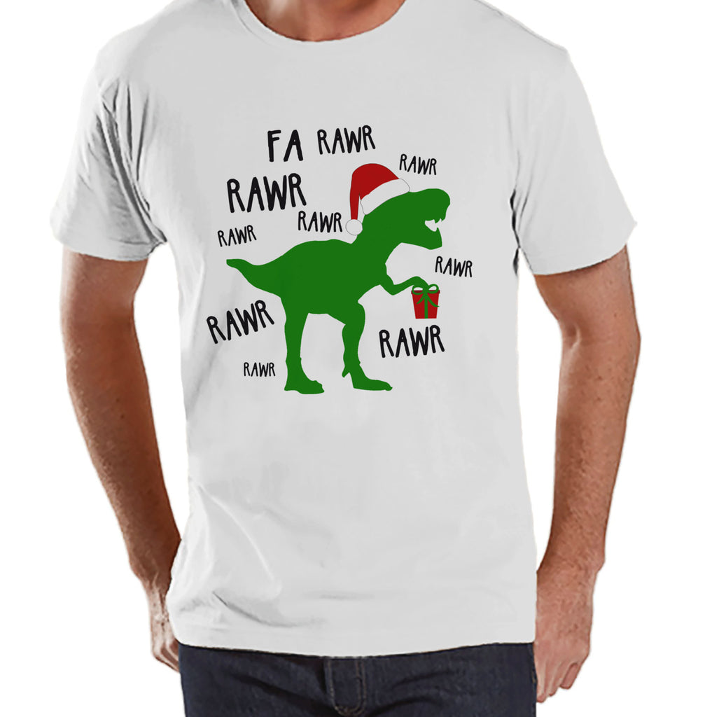 Dinosaur Christmas Shirt - Winter Christmas Tee - Men's Christmas T-Shirt - Men's White T Shirt - Dino T Rex Holiday Shirt - Christmas T Rex