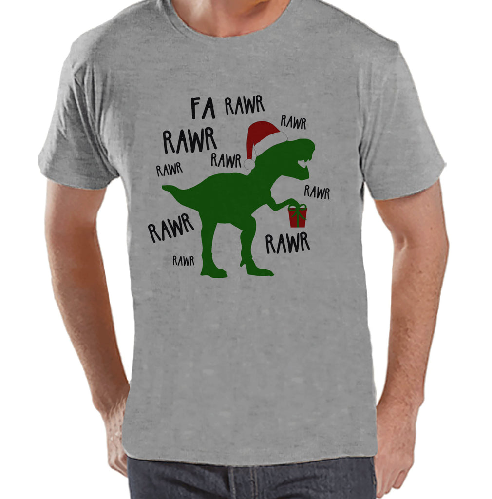 Dinosaur Christmas Shirt - Winter Christmas Tee - Men's Christmas T-Shirt - Men's Grey T Shirt - Dino T Rex Holiday Shirt - Christmas T Rex