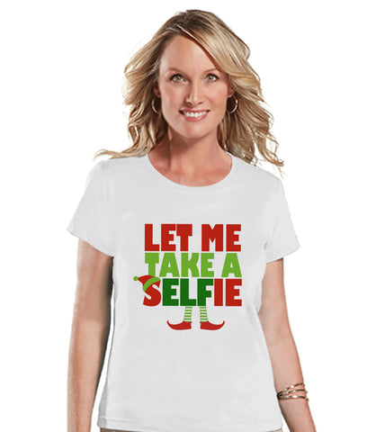 Let Me Take A Selfie Shirt - Christmas Elf T-Shirt - Ladies Holiday Top - Winter Tee - White T Shirt - Santa Pictures - Funny Christmas Tee - 7 ate 9 Apparel