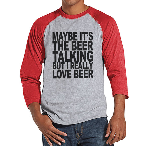 Men's Funny Tshirt - Drinking Shirts - I Love Beer - Mens Drinking Gifts - Funny Gift For Him - Funny Tshirt - St Patricks Day Red Raglan - 7 ate 9 Apparel