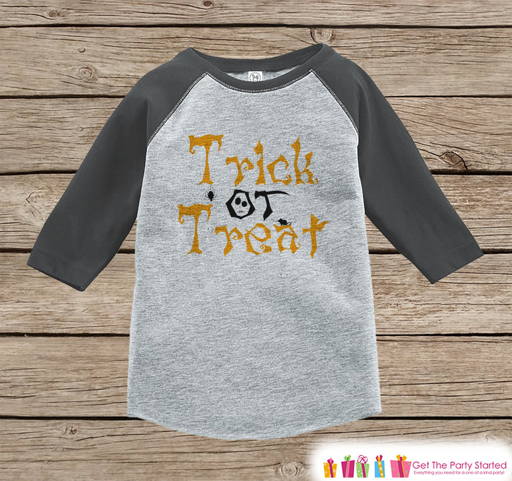 Kids Halloween Shirt - Boy or Girl's Trick Or Treat Outfit - Grey Raglan Tshirt or Onepiece - Halloween Shirt - Kids Halloween Costume