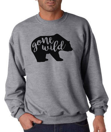 Camping Sweatshirt - Men's Crewneck Sweatshirt - Gone Wild Adult Grey Sweatshirt - Humorous Sweatshirt - Gift for Him - Bear Sweatshirt - 7 ate 9 Apparel