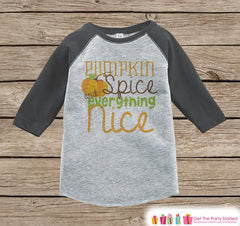 Kids Halloween Outfit - Girls or Boys Pumpkin Spice Halloween Top - Grey Raglan Tshirt or Onepiece - 1st Halloween - Kids Fall Autumn Outfit