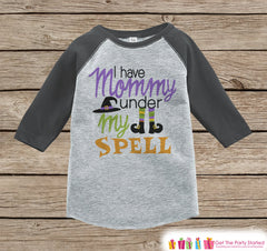 Girls Witch Halloween Outfit - Mommy Is Under My Spell Halloween Shirt - Grey Raglan Tshirt or Onepiece - 1st Halloween - Halloween Costume