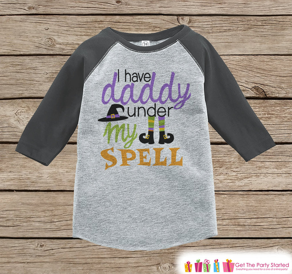 Girls Witch Halloween Outfit - Daddy Is Under My Spell Halloween Shirt - Grey Raglan Tshirt or Onepiece - 1st Halloween - Halloween Costume - 7 ate 9 Apparel