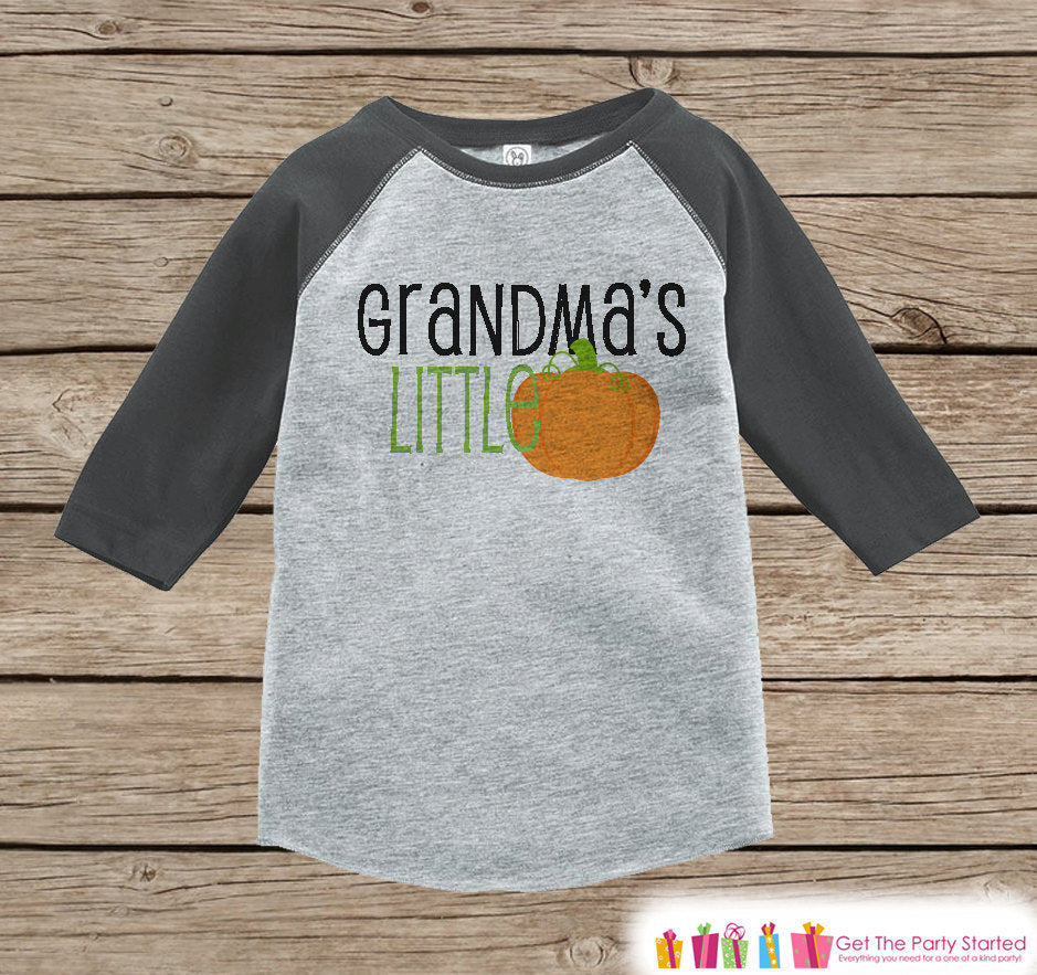 Grandma's Little Pumpkin - Kids Halloween Outfit - Girls or Boys Pumpkin Shirt - Grey Raglan Tshirt or Onepiece - Kids Halloween Costume