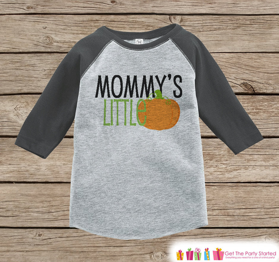 Mommy's Little Pumpkin Shirt - Kids Halloween Outfit - Girls or Boys Pumpkin Shirt - Grey Raglan Tshirt or Onepiece - Kids Halloween Costume