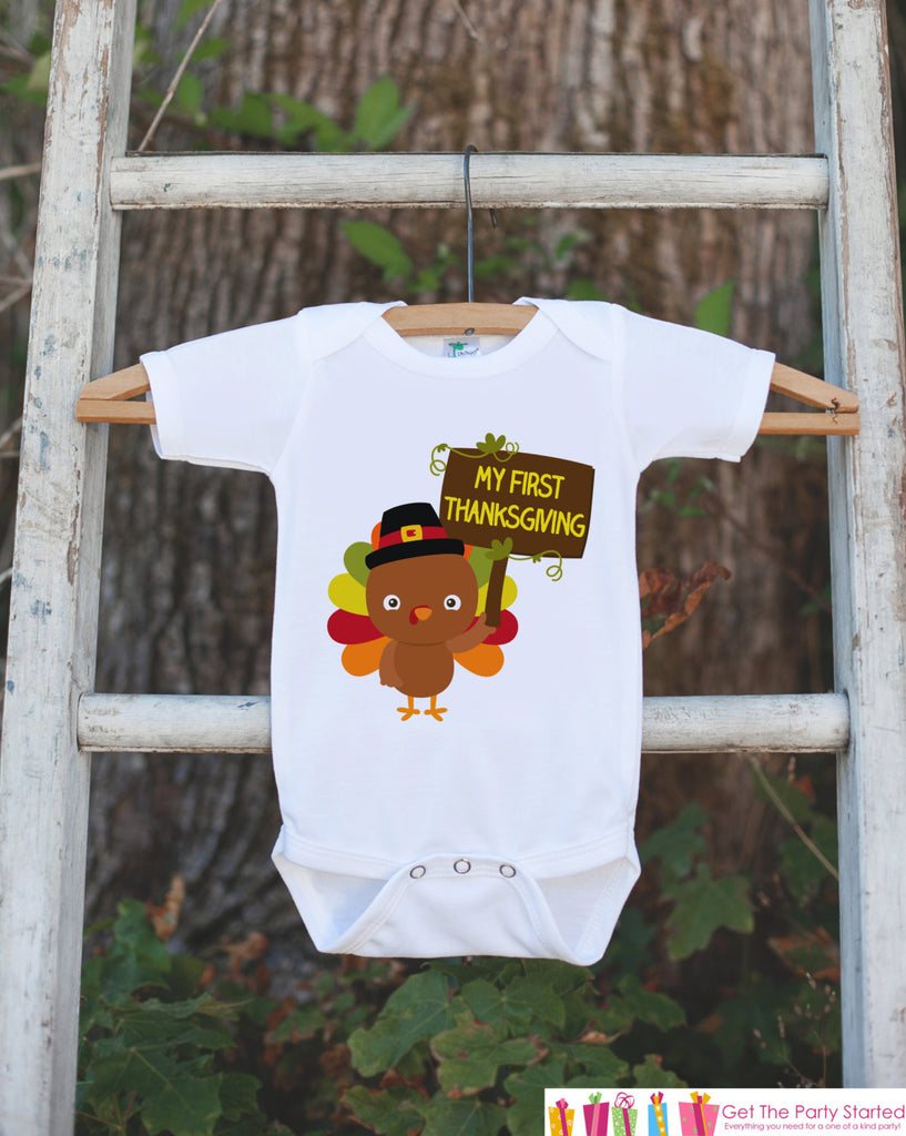 My First Thanksgiving Outfit - Thanksgiving Onepiece or Tshirt - Baby's First Thanksgiving With Baby Turkey - Boy or Girl First Thanksgiving