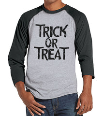 Trick or Treat Shirt - Adult Halloween Costumes - Scary Men's Shirt - Mens Costume Tshirt - Mens Grey Raglan Tee - Black Happy Halloween Top