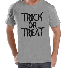 Trick or Treat Shirt - Adult Halloween Costumes - Scary Men's Shirt - Mens Costume Tshirt - Mens Grey T-shirt - Black Happy Halloween Top