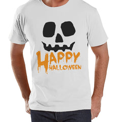 Men's Happy Halloween Shirt - Adult Halloween Costumes - Funny Men's Shirt - Pumpkin Costume Tshirt - Mens White T-shirt - Happy Halloween