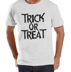 Trick or Treat Shirt - Adult Halloween Costumes - Scary Men's Shirt - Mens Costume Tshirt - Mens White T-shirt - Black Happy Halloween Top