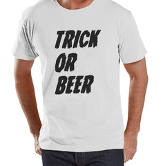 Mens Trick or Beer Shirt - Funny Adult Halloween Costumes - Men's Shirt - Mens Costume Tshirt - White T-shirt - Beer Happy Halloween Top