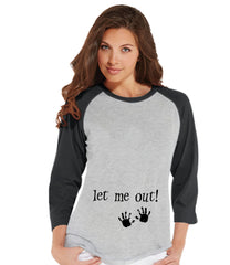 Halloween Pregnancy Announcement - Let Me Out! Pregnancy Reveal Tshirt - Halloween Pregnancy Shirt - Grey Raglan Shirt - Pregnancy Reveal