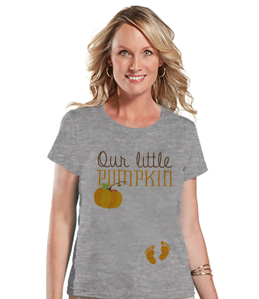 Halloween Pregnancy Announcement - Our Little Pumpkin Pregnancy Reveal Tshirt - Halloween Pregnancy Shirt - Grey Tshirt - Pregnancy Reveal