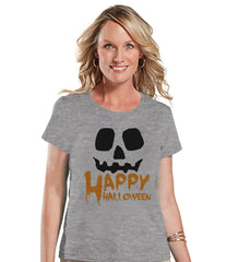 Happy Halloween Shirt - Adult Halloween Costumes - Pumpkin Shirt - Women's Costume Tshirt - Ladies Grey Tshirt - Happy Halloween Top