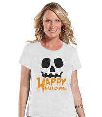 Happy Halloween Shirt - Adult Halloween Costumes - Pumpkin Shirt - Women's Costume Tshirt - Ladies White Tshirt - Happy Halloween Top