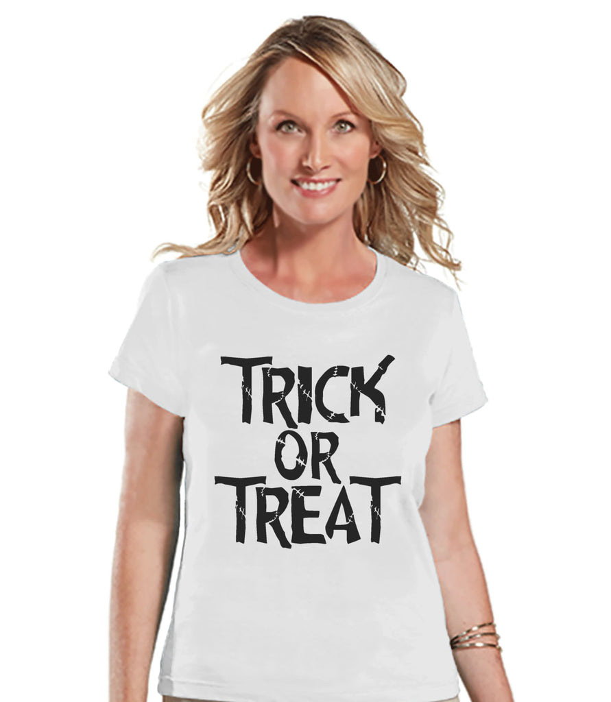 Trick or Treat Shirt - Adult Halloween Costumes - Halloween Shirt - Women's Costume Tshirt - Ladies White Tshirt - Happy Halloween Top